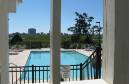 View from pool patio