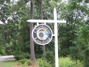 Sign at front entrance of Charleston Landing